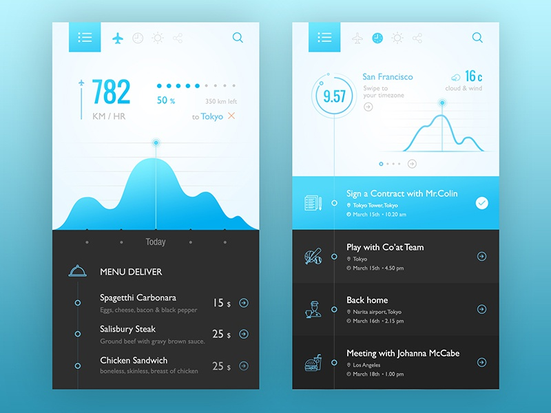 Fli : for Flight & Schedule ui ux design concept app application interface white clean dark black blue