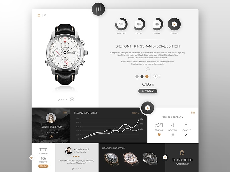 Watch it - Concept web design website web black dark clean white interface concept design ux ui