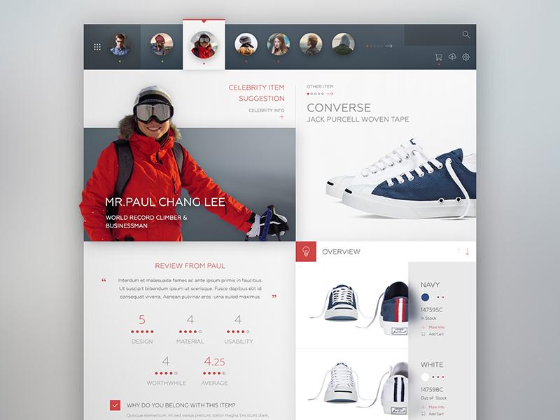 Trendme design black red white concept interface web design website web minimal ux ui