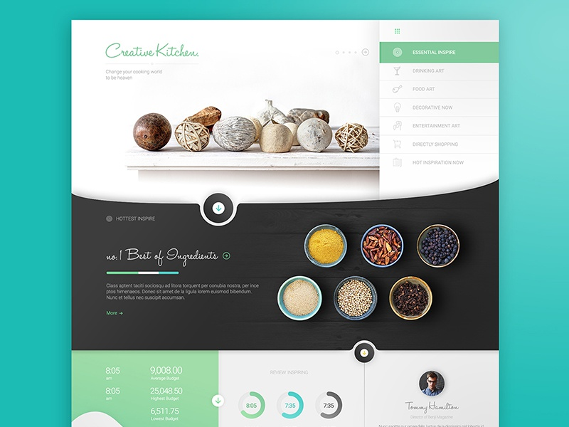 Creative Kitchen concept design interface green black white minimal clean website web ux ui