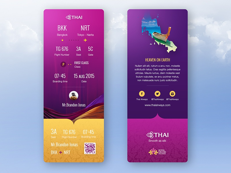 Thai Airways Ticket Redesign plain flight ticket yellow branding pink purple printing ticket redesign product