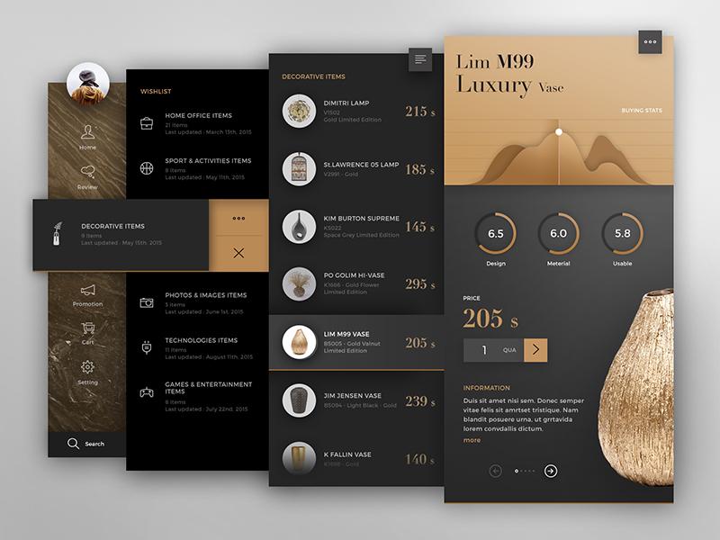 Piart interface gold black dark application app website web concept design ux ui