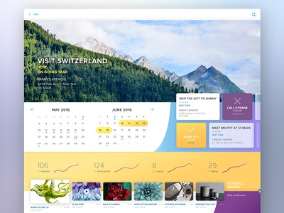 Kleen interface purple yellow color white clean material web design website concept ui