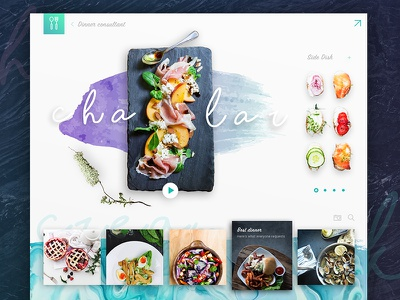 Chalar homepage color blue clean colourful food website web interface design concept ui