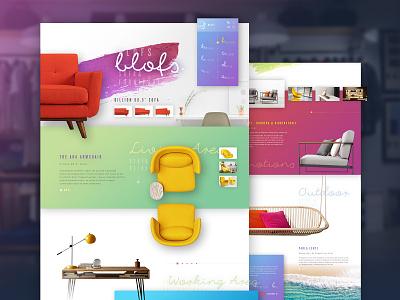 Blofs : Colorful decor green furniture white red color gradient website web interface concept design ui