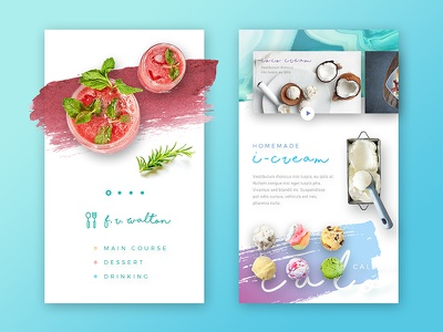 Chalar Mobile dessert white minimal clean interface application app website web concept ux ui