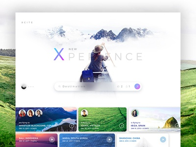 Xcite l Travel Experience trip nature traveling color travel website web interface concept design ux ui