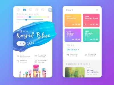 Order Acrylic Colors app art brush painting color application app interface design concept colourful ux ui