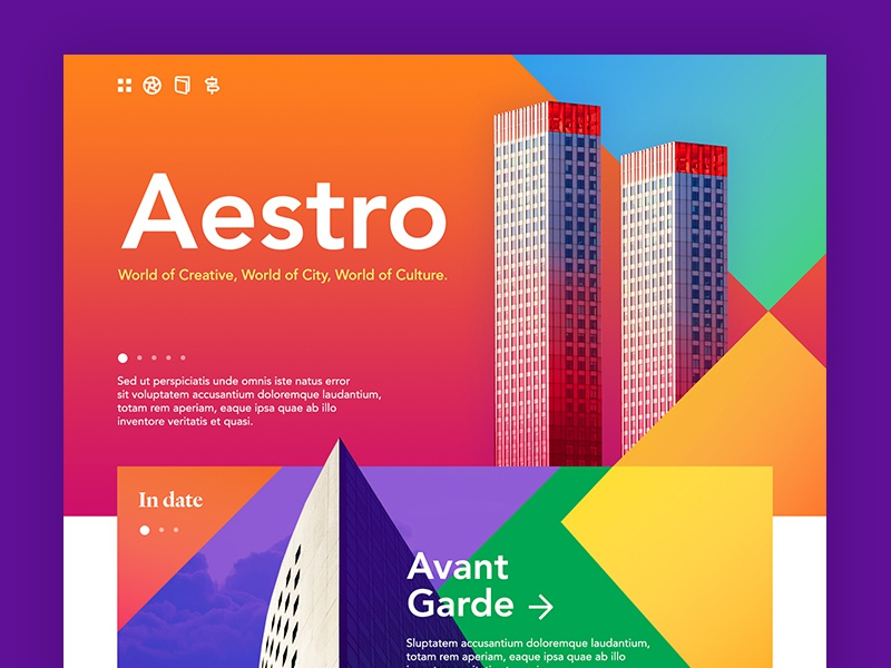 Aestro building architecture clean minimal visual colorful color interface concept design web website ui