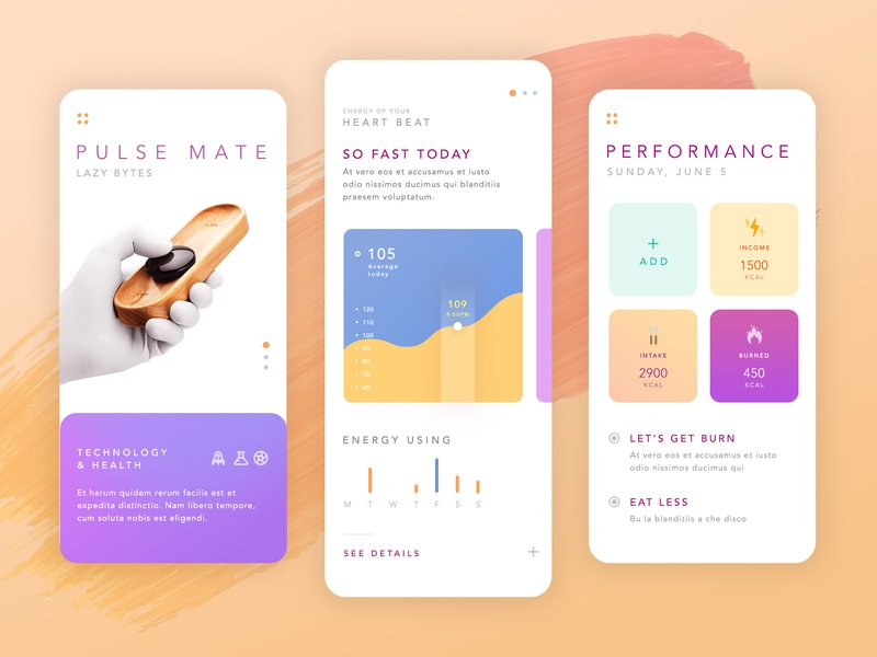 Pulse Mate concept interface color white health app minimal ux health application app clean design ui