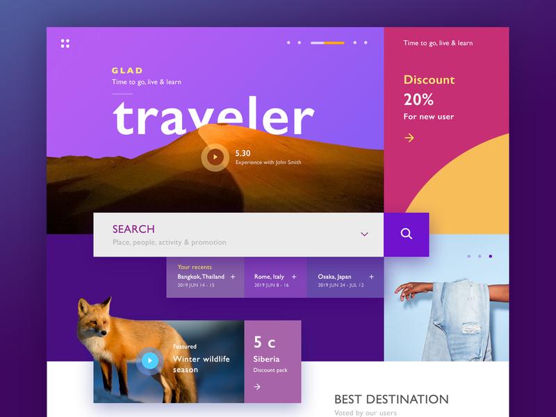 Glad Traveler user interface ux purple color website design web design webdesign clean concept design minimal interface web website ui