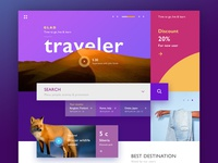 Glad Traveler user interface ux purple color website design web design webdesign clean concept design minimal interface web website ui