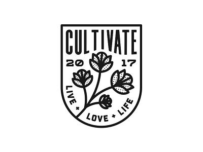 Cultivate. halftone flower lettering typography badge illustration graphic design logo