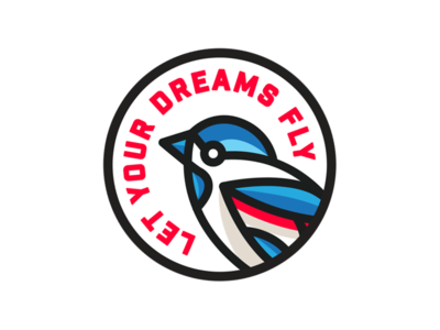 Let Your Dreams Fly 2 coral bird black blue texture type illustration typography graphic design logo