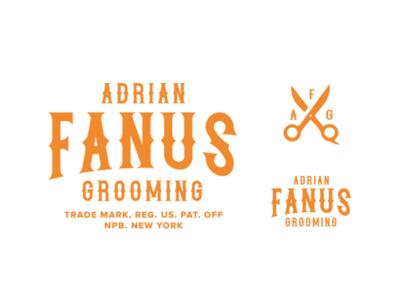 Adrian Fanus Grooming WIP text scissors barbershop barber lettering typography badge illustration graphic design logo