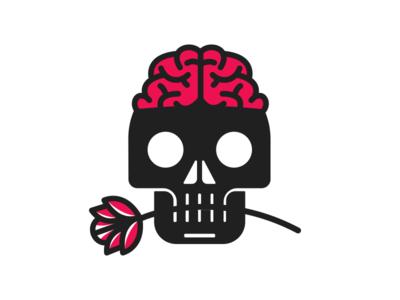 Skull + Flower flowers skull badge illustration graphic design logo