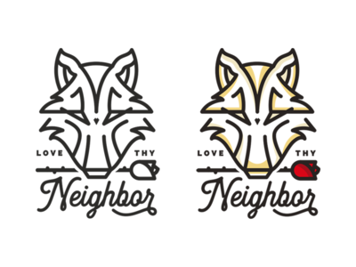 Love Thy Neighbor. flower rose wolf lettering typography badge illustration graphic design logo