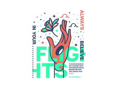Flights. believe clouds hand flower stars lettering typography badge illustration graphic design logo