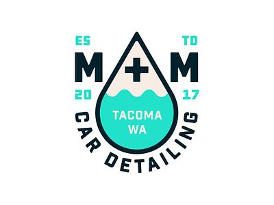 M + M Car Detailing. detailing drop water lettering typography badge illustration graphic design logo