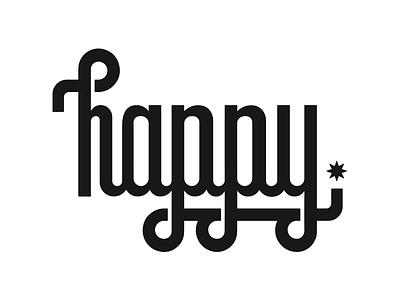 Happy. cursive script happy type custom lettering typography graphic design illustration