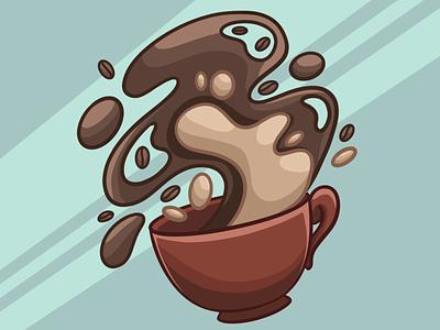 Hello DRIBBBLE! Coffee cup design coffee coffee cup illustration art illustration