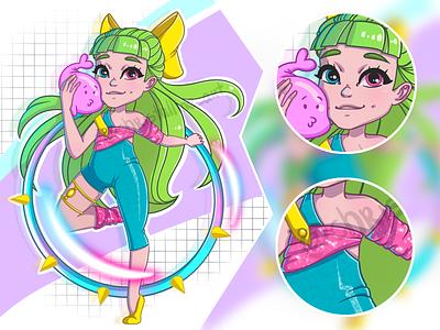 Gymnast cartoon girl concept artwork illustration art art illustration