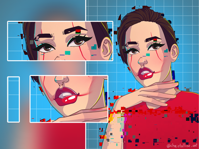 Red and Blue red portrait artwork cartoon girl art illustration art illustration