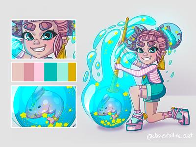 Lil' girl with her fishie cartoon girl concept art artwork illustration art illustration