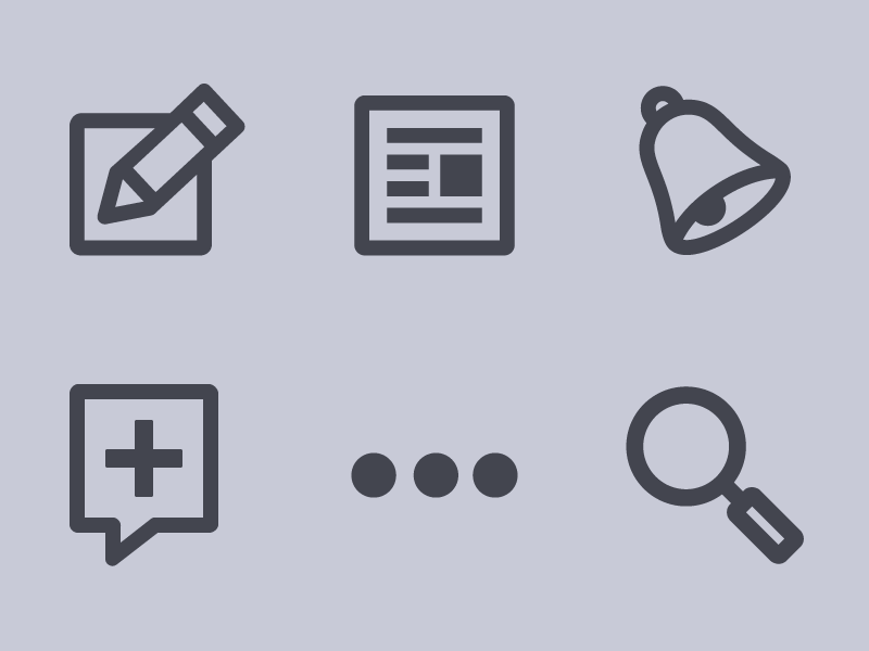 Quora Navigation Icons social quora navigation ui icon mobile web app ios ipad minimal interface