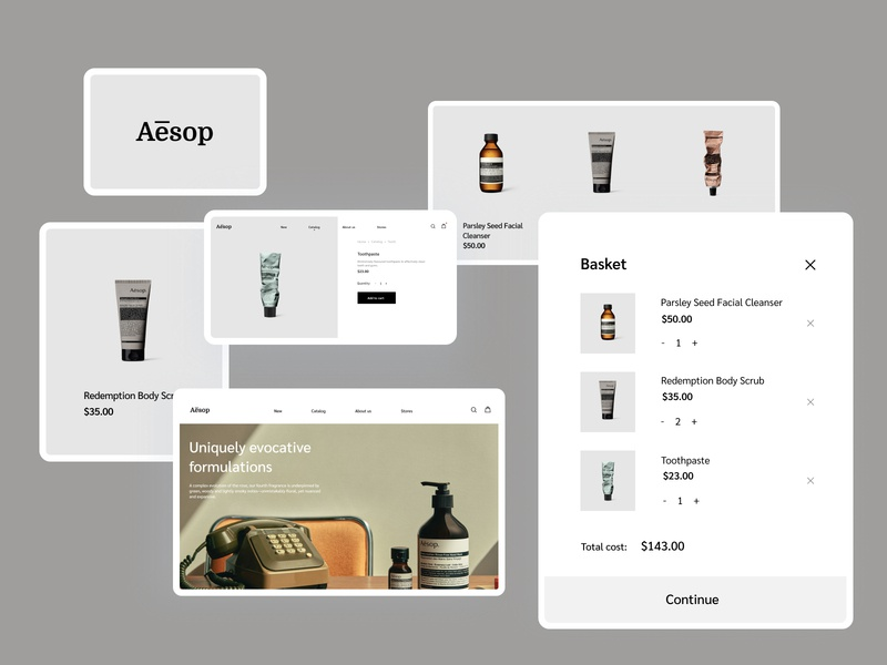 Aesop website product design user experience user interface clean ui typography website interface home page basket e-commerce shop e-commerce ecommerce landing landing page design landing design landing page website design web design ui cards ui elements