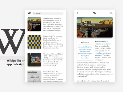 Wikipedia moblie app redesign user interface design wikipedia ux ui
