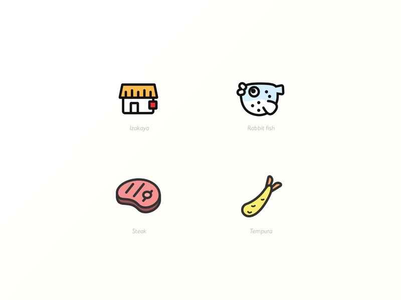 Food icons rabbit fish steak tenpura fuku izakaya japan food icon