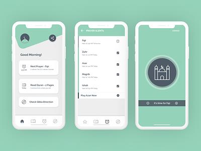 Simplified Muslim App (Open Figma link) prayers muslim minimal ux ideation design