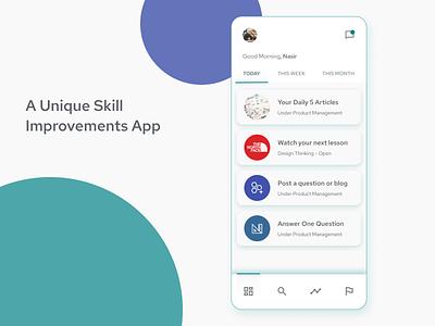 Skill Improvement App learning app minimal ui ux ideation design