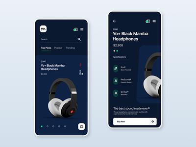 Dark Mode eCommerce - Headphones ecommerce ui minimal ideation design ux