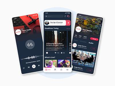 Afro Mobile Media App news app app media dark mode design ux
