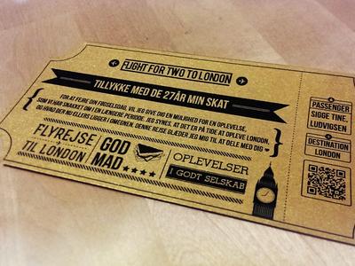 Ticket, present ticket flight present gold black dashes retro qr code food