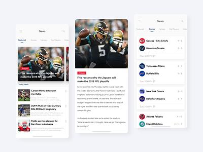 NFL App Mobile Concept clean app design sport football nfl