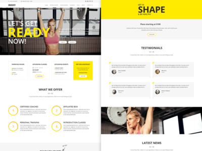 Crossfit template gymn sport services hero white yellow clean minimalist website layout crossfit