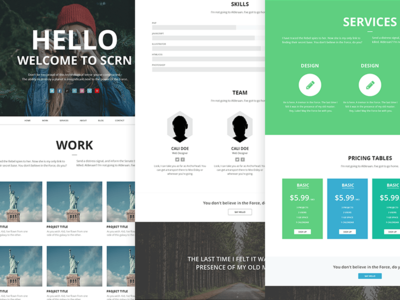 SCRN Remaster template pricing tables about services portfolio scrn flat minimal layout website
