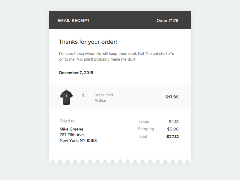 Email Receipt - Daily UI #017 order minimalist ecommerce email email receipt 017 dailyui