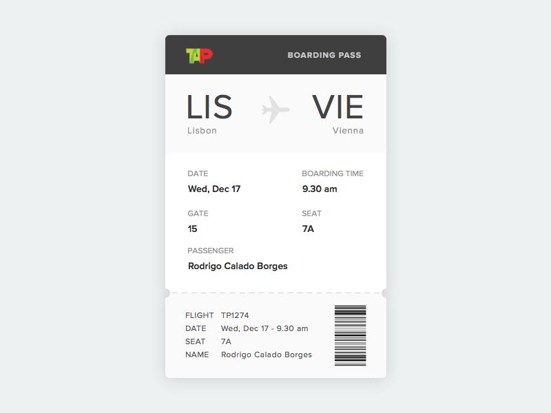 Boarding Pass - Daily UI #024 (Sketch File) freebie sketch sketchapp bar code concept ticket airline tap boarding pass 024 dailyui