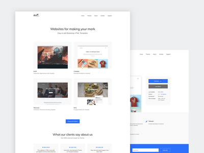 KLLR Themes redesign white grid template button minimalist layout website