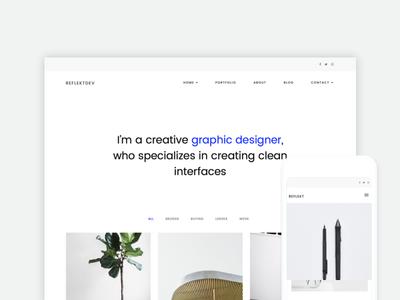 Reflekt white space white minimalist minimal wordpress portfolio layout website