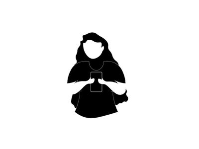 Illustration simple flat design character design girl illustration negative space black  white phone ui vector illustration