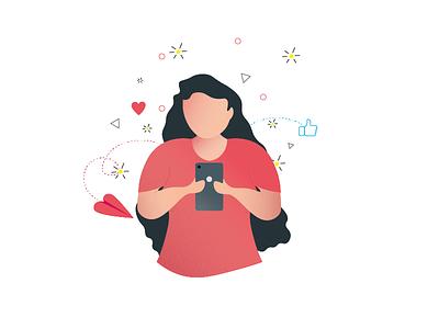 Illustration   Social media   Using phone social media illustrations using phone girl illustration sign in sign up login onboarding flat design character design girl character girl illustrator