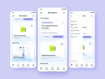 Mindpeers - app for taking care of your mental health mental health and relax therapist 2021 concept figma design care health mind ui