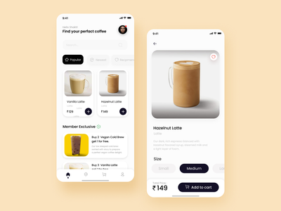 Coffee ordering app coffee ui coffee app app ui concept coffee beans online store order coffee ordering coffee uiux graphic design ui