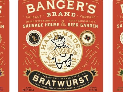Banger's Hand-Made Sausages logo restaurant graphic design packaging typography branding illustration