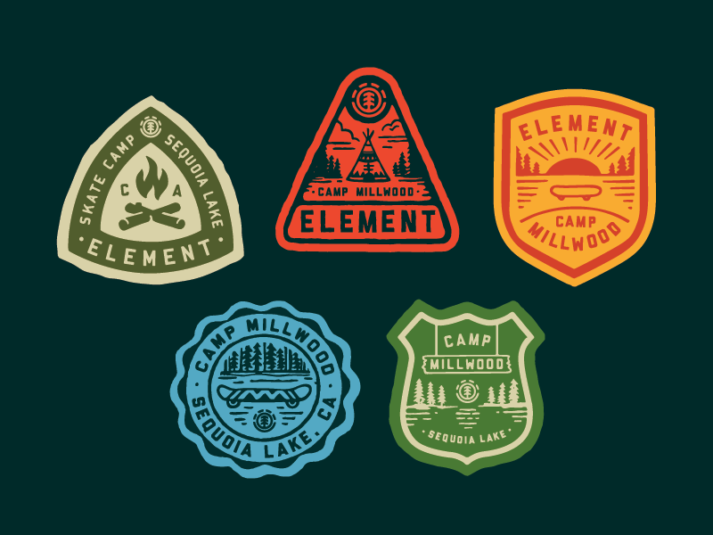 Element Skate Camp Patches patches apparel graphics identity typography branding illustration